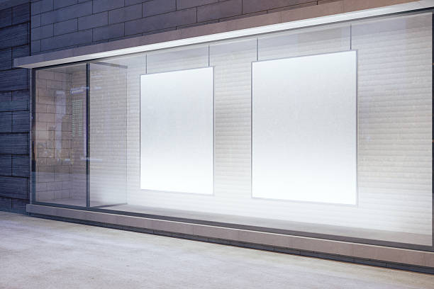 cartazes em branco branco da janela - facade shop 3d - fotografias e filmes do acervo