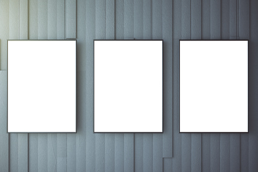 518847146 istock photo Blank white posters on grey wall, mock up 514565404