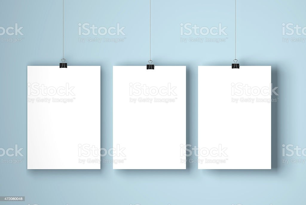 Blank white posters stock photo