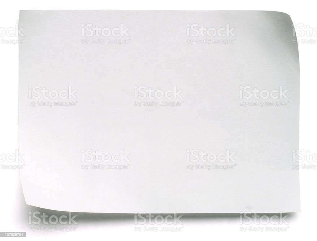Blank White Post-it Note stock photo