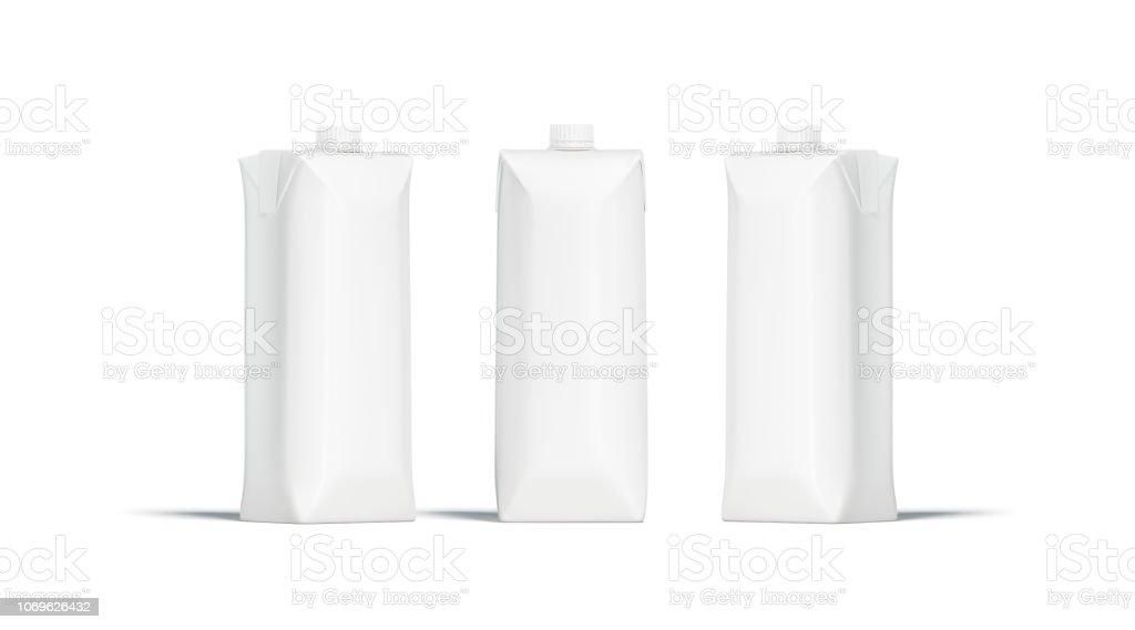 Pacote de suco em branco prisma branco com tampa maquete conjunto - foto de acervo