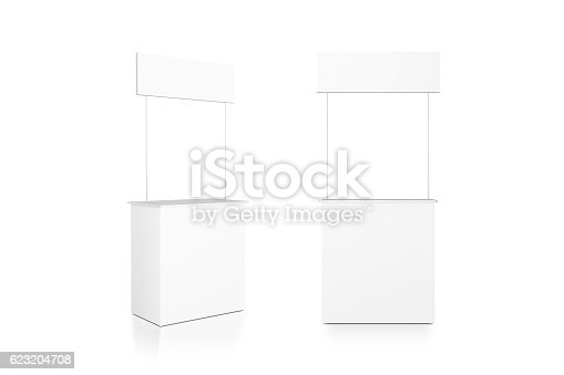 istock Blank white promo counter mockup stand, front and side view 623204708
