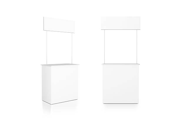 blank white promo counter mockup stand, front and side view - möbel discount stock-fotos und bilder