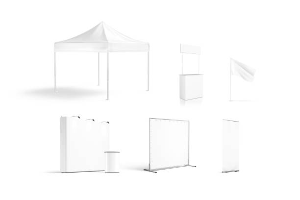 Blank white promotion trade stand mockup set isolated stock photo
