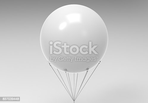 Blank white promotional outdoor advertising sky giant inflatable PVC helium balloon flying in sky.