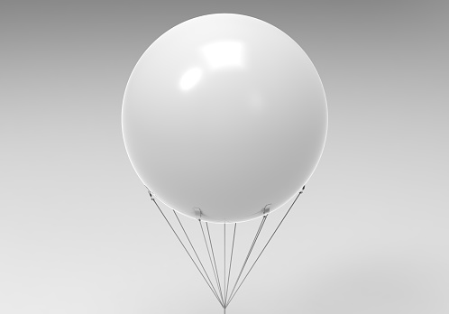 Blank white promotional outdoor advertising sky giant inflatable PVC helium balloon flying in sky for mock up and template design.