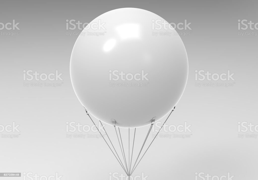 Blank white promotional outdoor advertising sky giant inflatable PVC helium balloon flying in sky for mock up and template design. stock photo