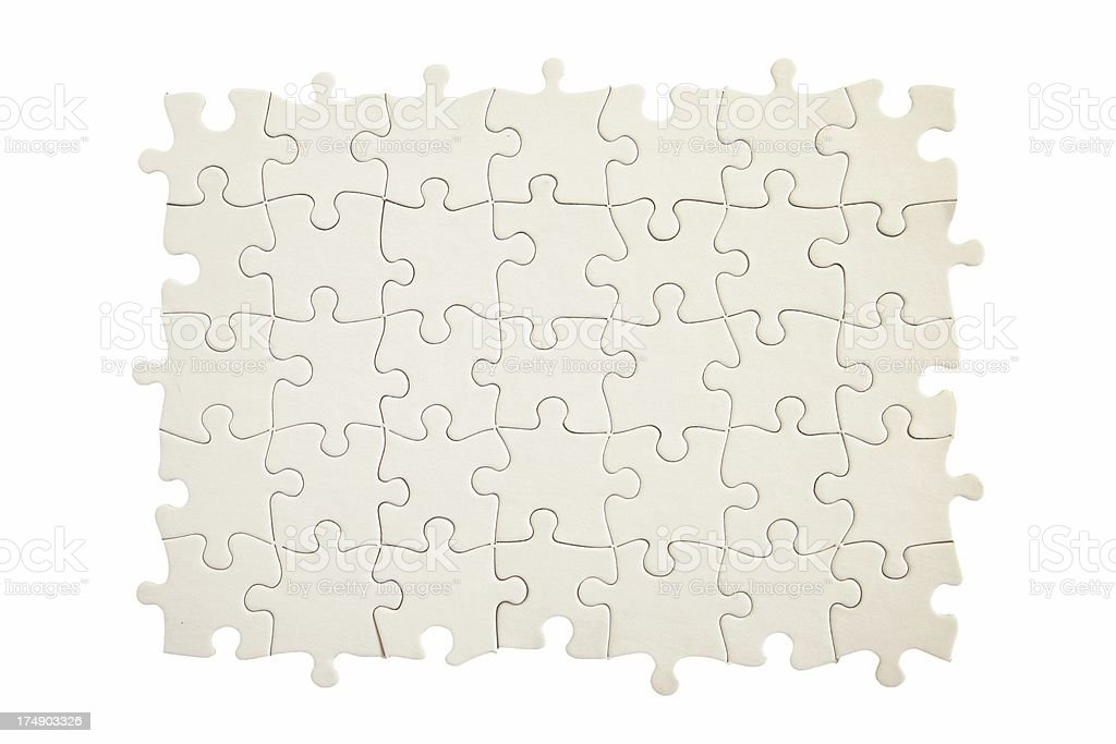Blank White Puzzle, Without Border Pieces royalty-free stock photo