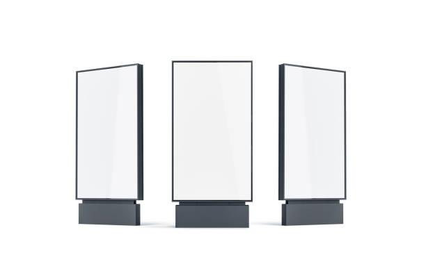 lege witte pyloon mock up set, geïsoleerd, - bushalte stockfoto's en -beelden