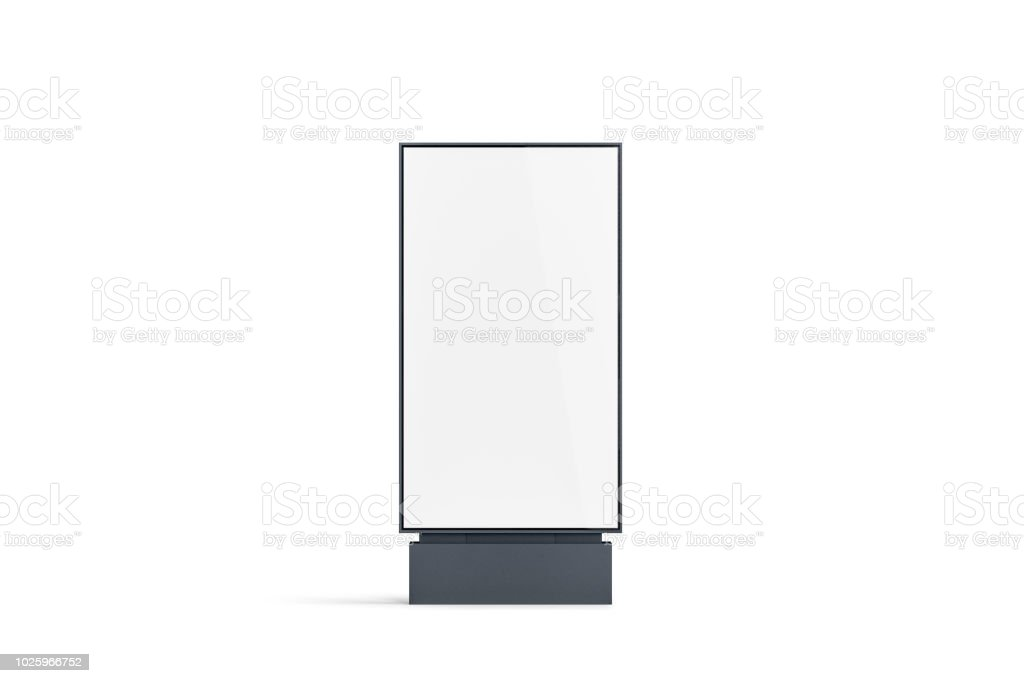 Blank white pylon mockup, front view, isolated royalty-free stock photo