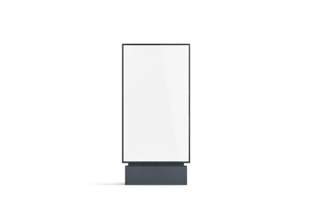 blank white pylon mockup, front view, isolated - вертикальный стоковые фото и изображения