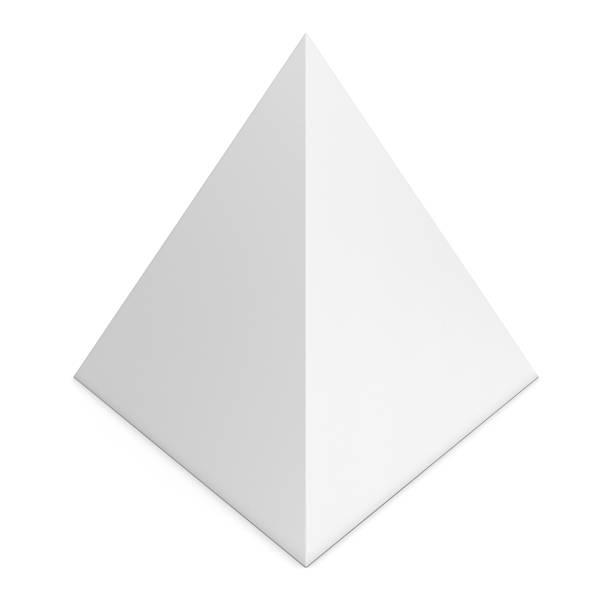 Blank White Pyramid Shape Isolated on White Background stock photo
