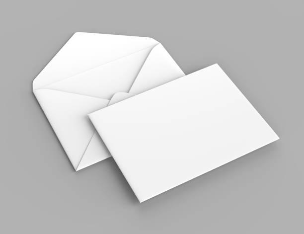 빈 흰색 현실적인 웅장 봉투를 비웃는 다. 3d 렌더링 그림입니다. - 초대장 뉴스 사진 이미지