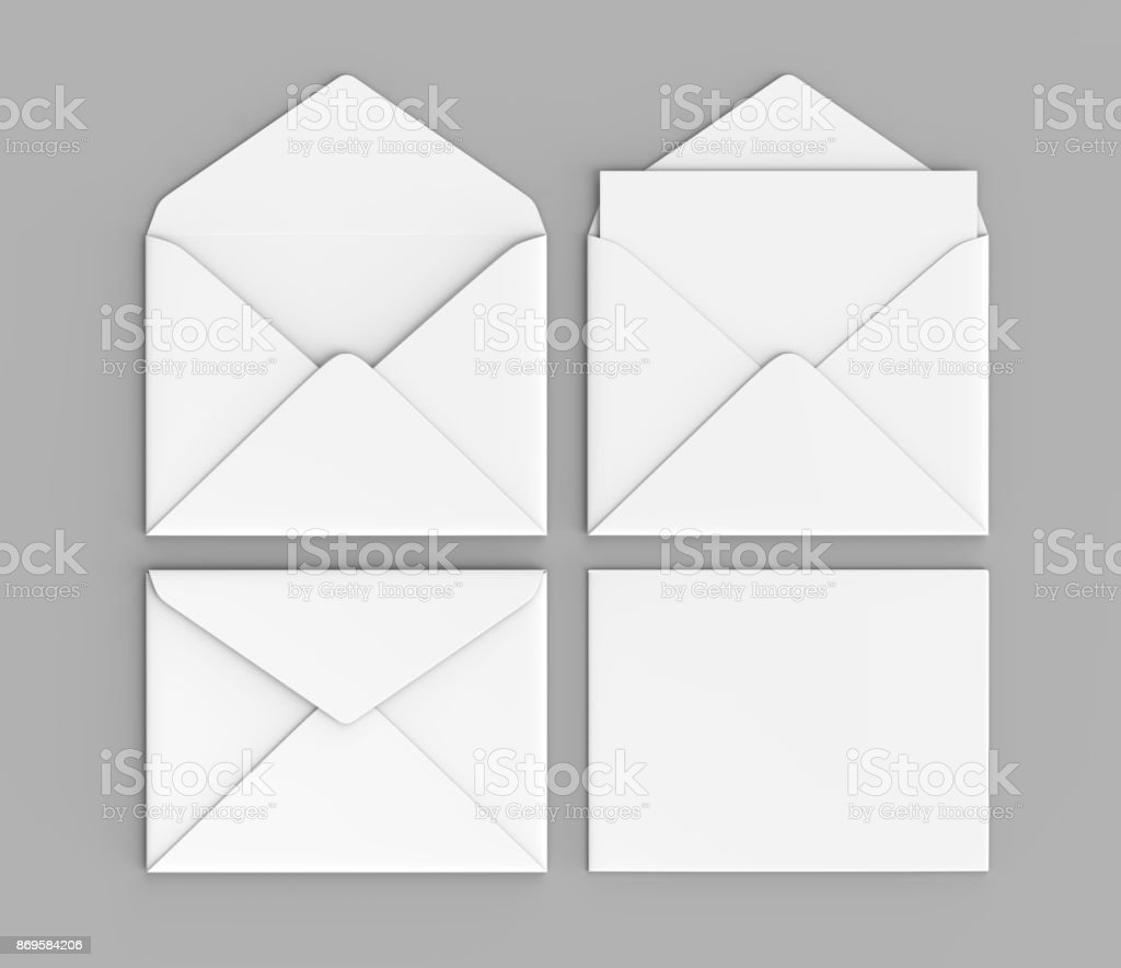 Blank white realistic baronial envelopes mock up. 3d rendering illustration. stock photo