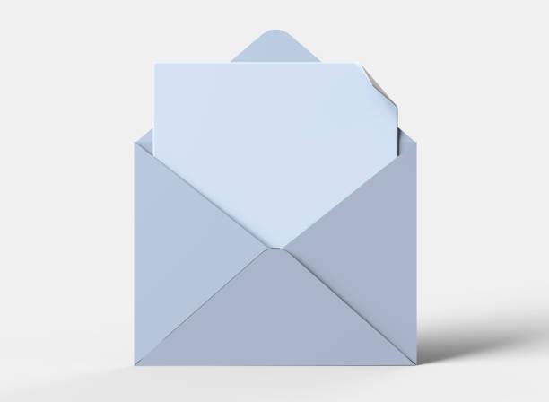 blank white realistic baronial envelopes - приглашение стоковые фото и изображения
