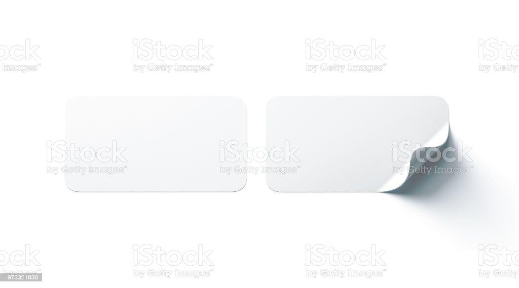 Leeres weißes Rechteck Aufklebern mock-up mit gebogenen Ecke – Foto