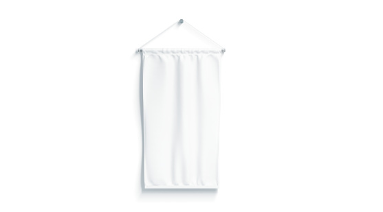 Blank white rectangle pennant mock up, isolated, 3d rendering. Clear penant hanging on wall mockup, front view. Empty flag template