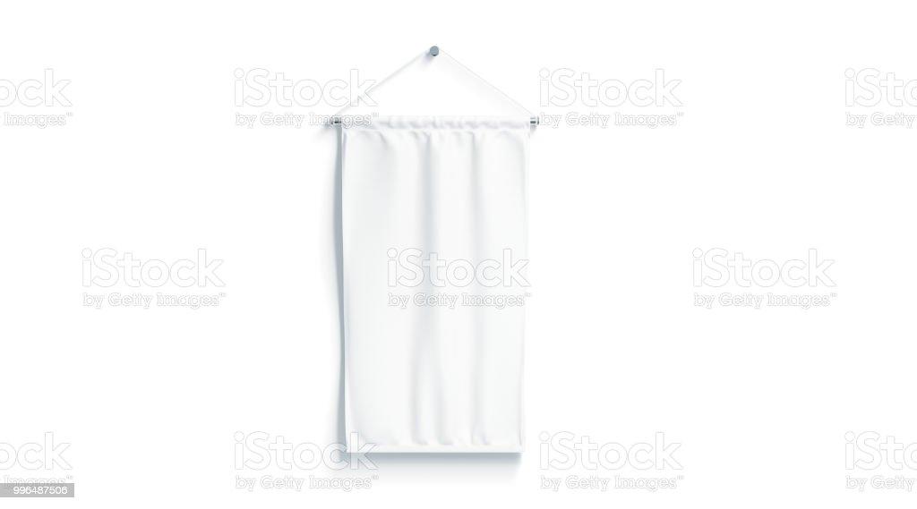 Blank white rectangle pennant mock up, isolated stock photo