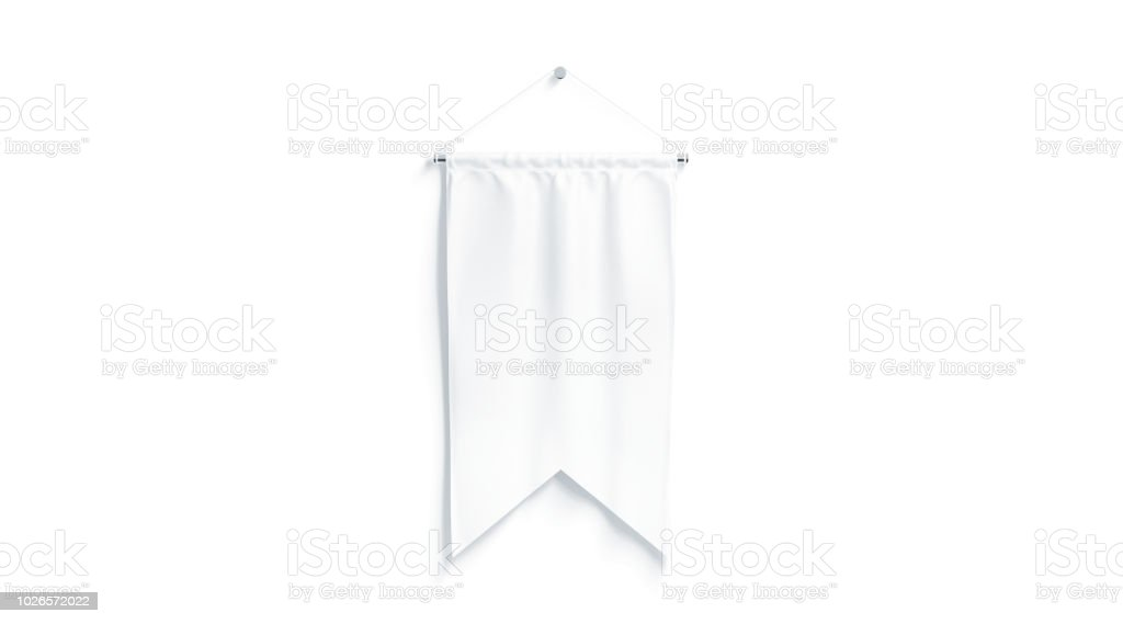 Blank white rectangle pennant with two corners mockup stock photo