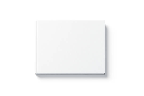 Blanc blanc rectangulaire livre relié au simulacre vers le haut, vue de dessus - Photo
