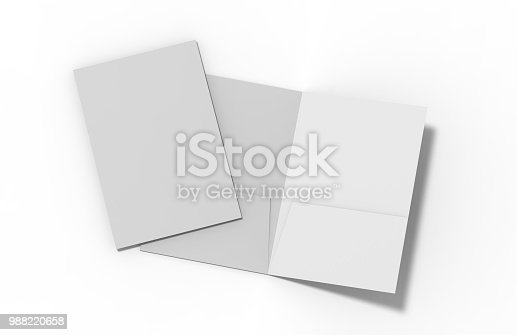 istock Blank white reinforced A4 single pocket folder on isolated white background, 3d illustration 988220658
