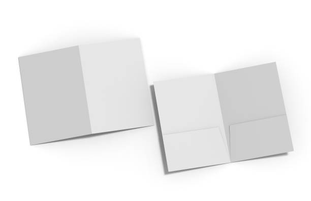 blank white reinforced a4 single pocket folder on isolated white background, 3d illustration - pocket stock photos and pictures
