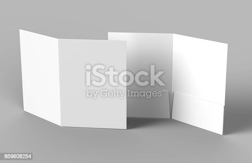 istock Blank white reinforced pocket folders on grey background for mock up. 3D rendering. 859608254