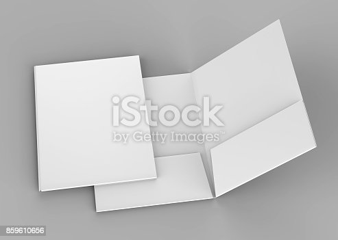 istock Blank white reinforced pocket folders on grey background for mock up. 3D rendering. 859610656