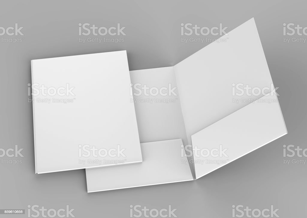 Blank white reinforced pocket folders on grey background for mock up. 3D rendering. stock photo