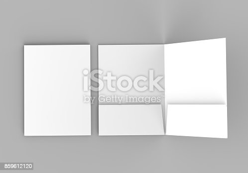 istock Blank white reinforced pocket folders on grey background for mock up. 3D rendering. 859612120
