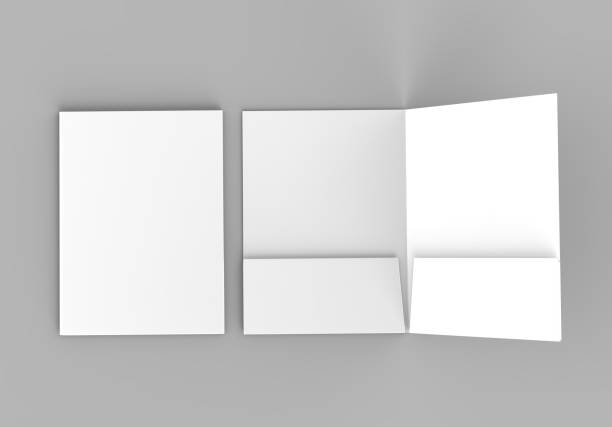 blank white reinforced pocket folders on grey background for mock up. 3d rendering. - pocket stock photos and pictures