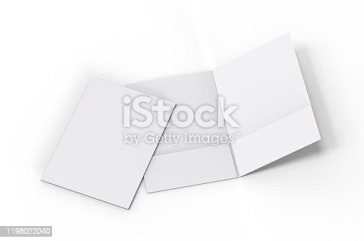 Blank white reinforced pocket folders on white background for mock up