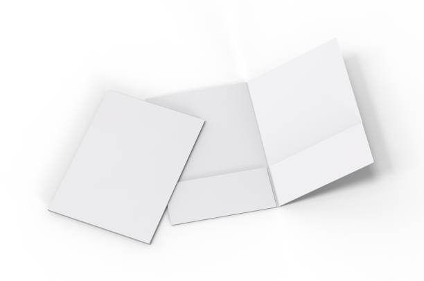 Blank white reinforced pocket folders on isolated white background, mock up template for design presentation. 3d illustration Blank white reinforced pocket folders on white background for mock up ring binder stock pictures, royalty-free photos & images