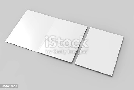 istock Blank white reinforced single pocket folder catalog on grey background for mock up. 3D rendering 867648652