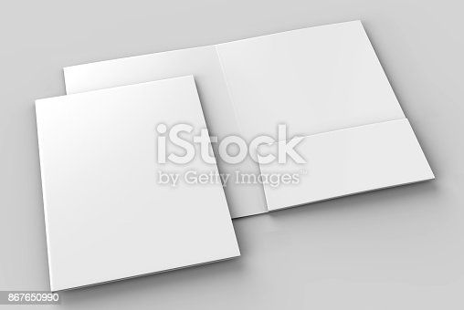istock Blank white reinforced single pocket folder catalog on grey background for mock up. 3D rendering 867650990