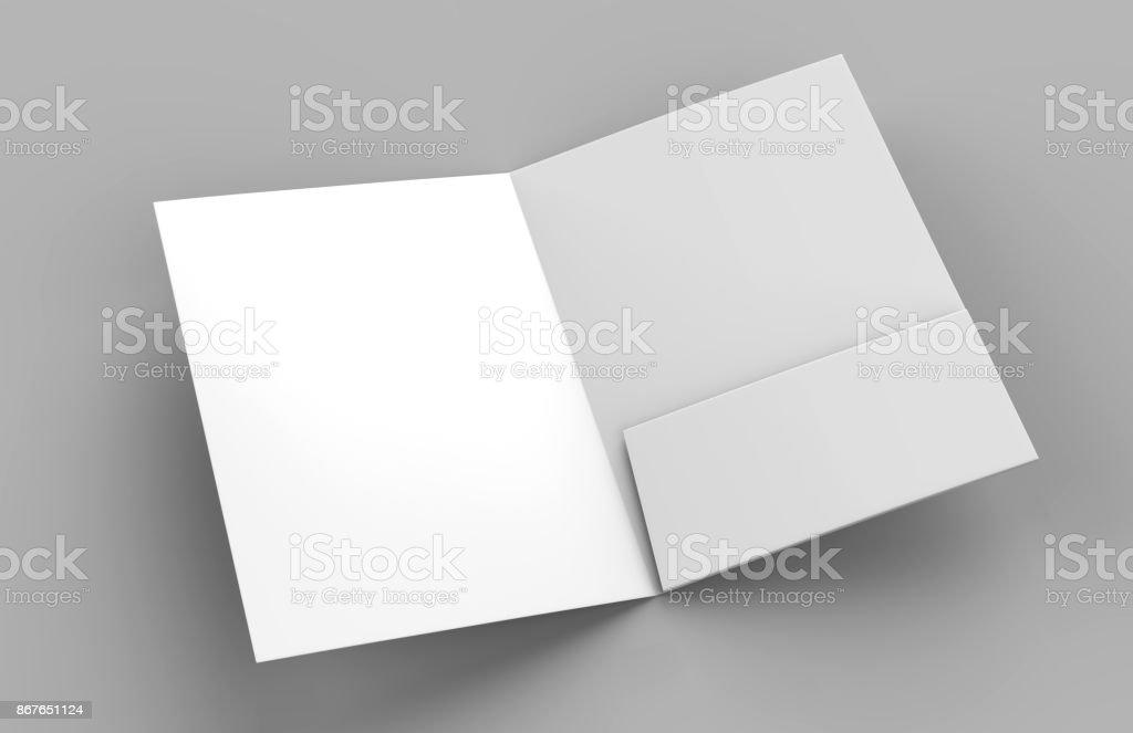 Blank white reinforced single pocket folder catalog on grey background for mock up. 3D rendering stock photo