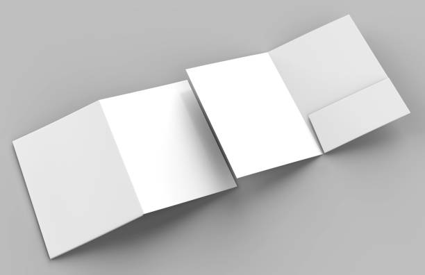 Blank white reinforced single pocket folder catalog on grey background for mock up. 3D rendering Blank white reinforced single pocket folders on grey background for mock up ring binder stock pictures, royalty-free photos & images