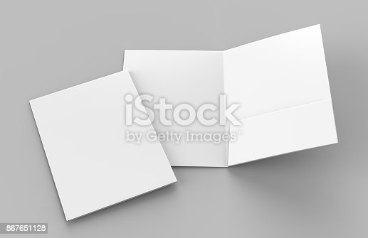 istock Blank white reinforced single pocket folder catalog on grey background for mock up. 3D rendering 867651128