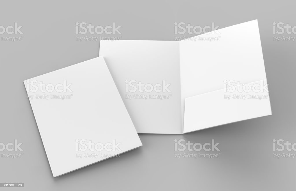 Blank white reinforced single pocket folder catalog on grey background for mock up. 3D rendering stock photo
