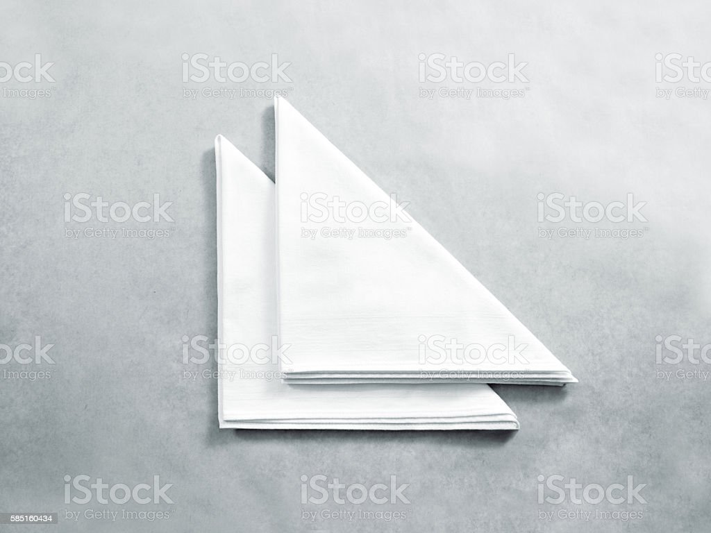 Blank white restaurant napkin mock up, isolated. stock photo