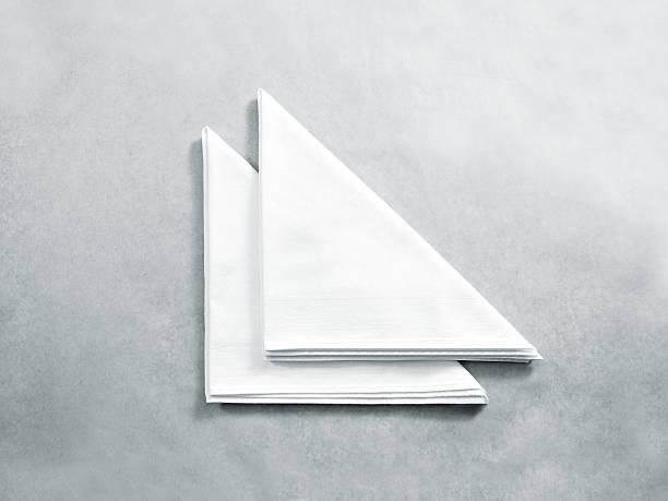 Blank white restaurant napkin mock up, isolated. stock photo