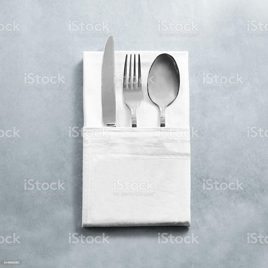 Blank White Restaurant Napkin Mock Up With Knife Fork Spoon Stock ...