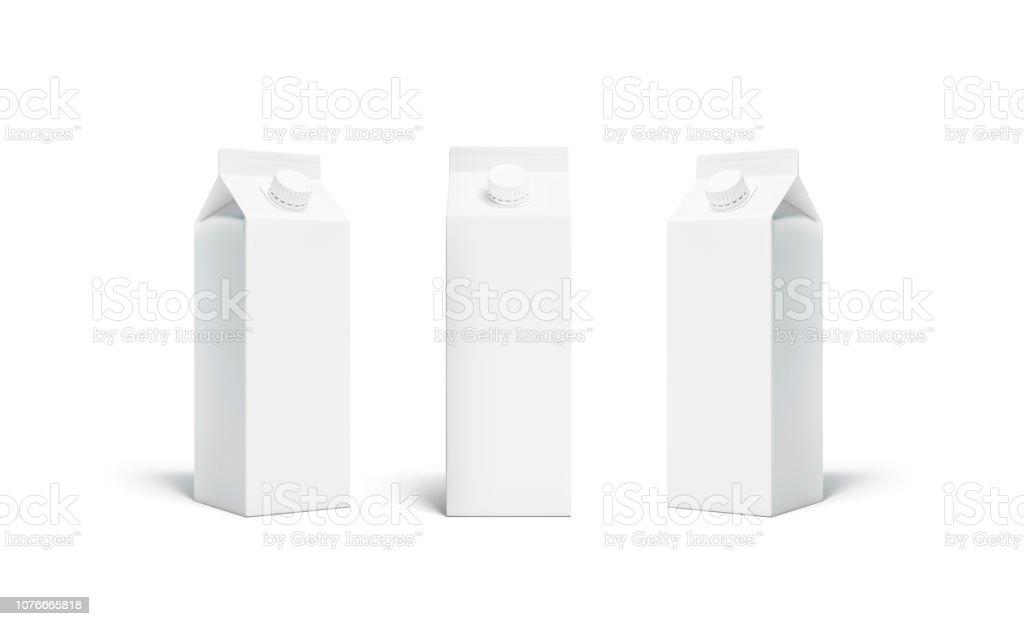 Em branco branco rex suco ou leite pacote tampa maquete conjunto - foto de acervo