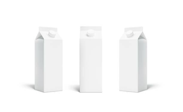 Blanc blanc rex jus ou lait pack couvercle maquette ensemble - Photo