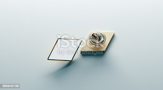 istock Blank white rhombus gold lapel badge mock up, front back 695846198