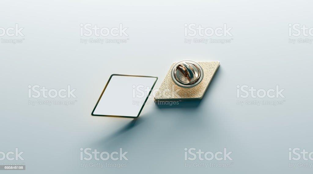 Blank white rhombus gold lapel badge mock up, front back stock photo