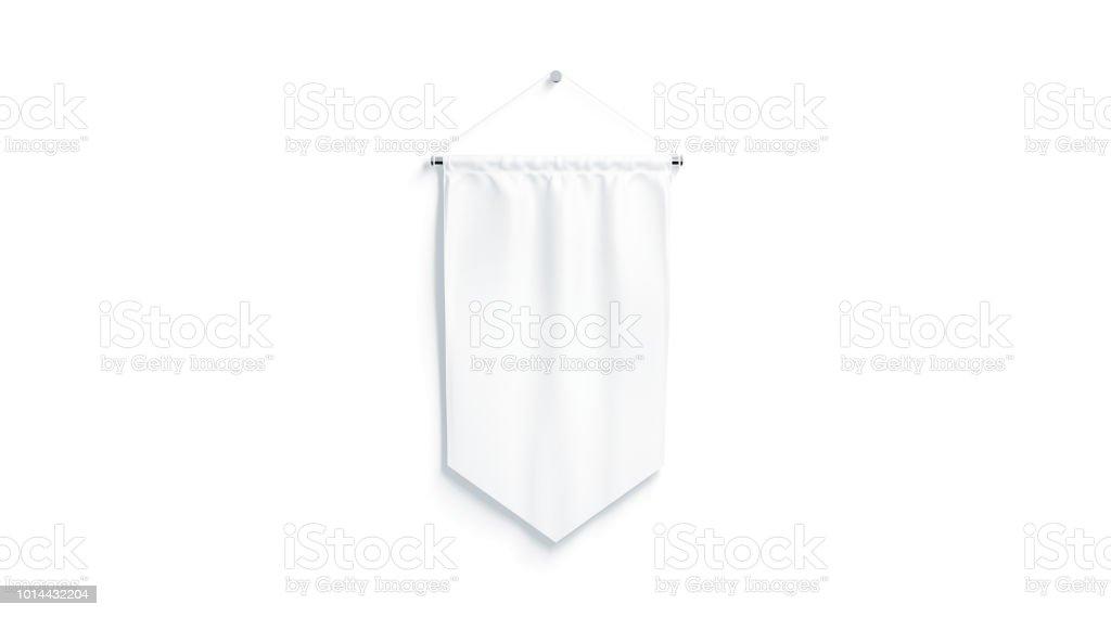 Blank white rhombus pennant mock up, isolated stock photo