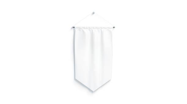 Banderín blanco rombo blanco imitan para arriba, aislado - foto de stock