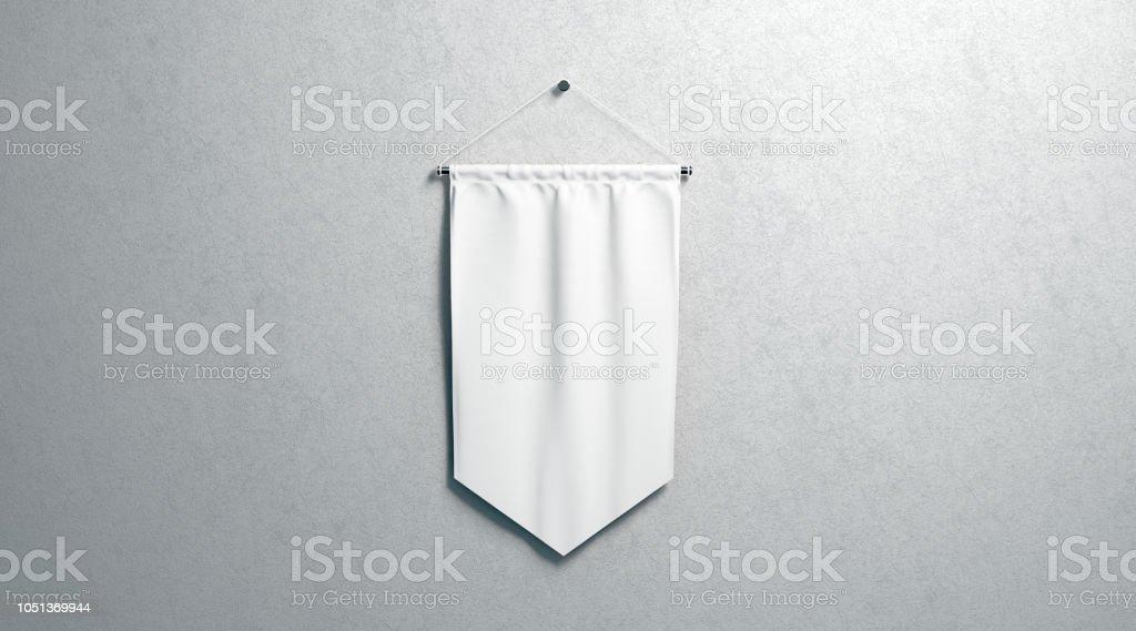 Blank white rhombus pennant mockup, wall mounted stock photo