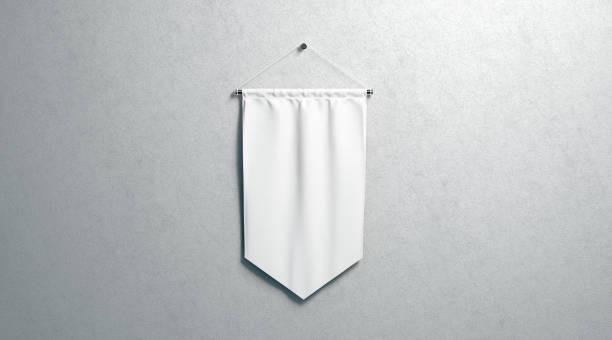 maquete de galhardete do losango branco em branco, montado na parede - bandeira - fotografias e filmes do acervo